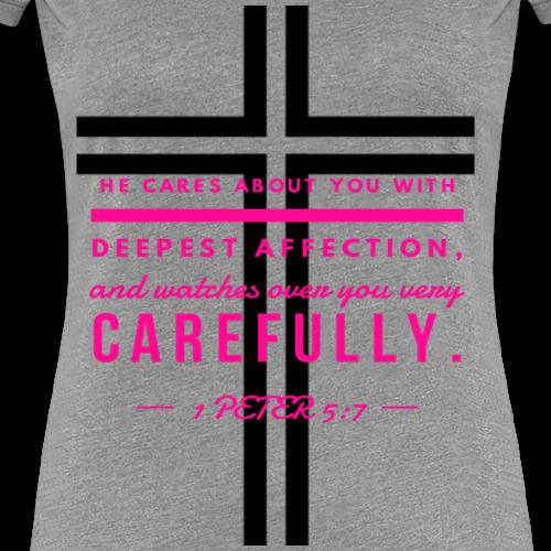 1 Peter 5:7 Cross Shirt - Women's Premium T-Shirt