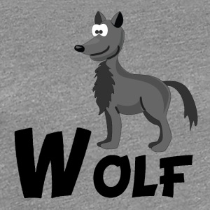 Cartoon Wolf - Women's Premium T-Shirt