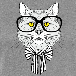 Intellegent_cat_with_glasses - Women's Premium T-Shirt