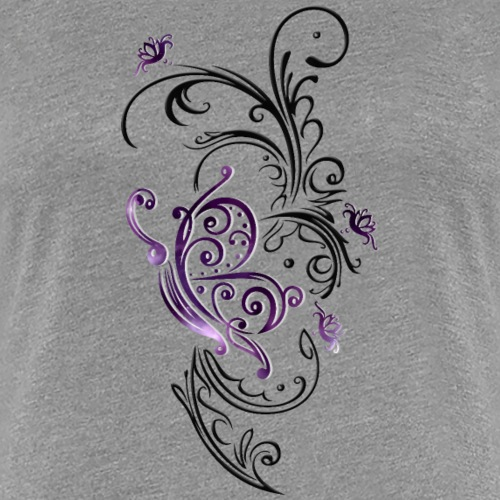 Floral art with flowers and butterfly - Women's Premium T-Shirt