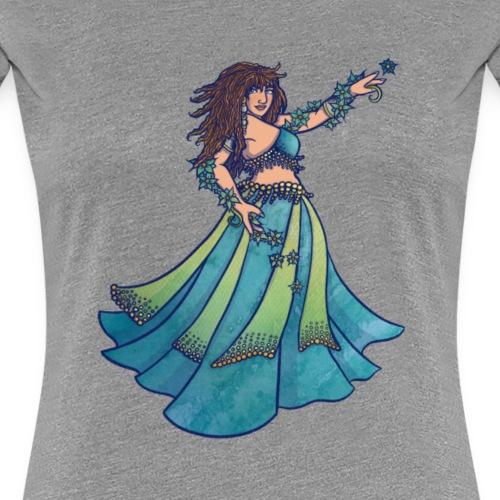Ruby Blue belly dancer goddess art - Women's Premium T-Shirt