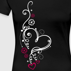 Large heart with small hearts and flowers - Women's Premium T-Shirt
