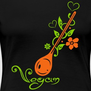 Healthy cooking, cooking spoon with flowers - Women's Premium T-Shirt