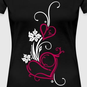 Two hearts with flowers - Women's Premium T-Shirt