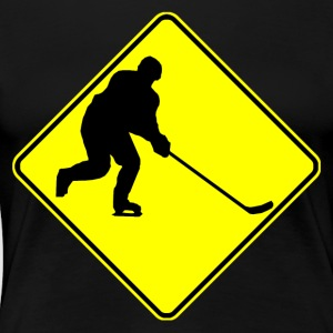 Hockey Player Crossing Sign - Women's Premium T-Shirt