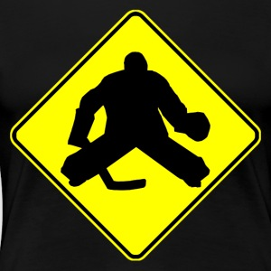 Hockey Goalie Crossing Sign - Women's Premium T-Shirt