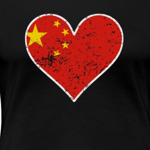 Distressed Chinese Flag Heart - Women's Premium T-Shirt