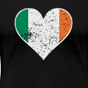 Distressed Irish Flag Heart - Women's Premium T-Shirt