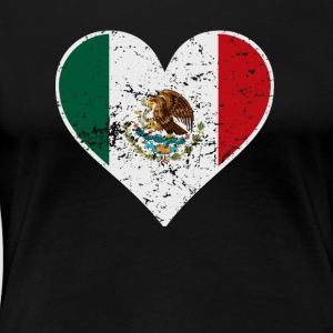 Distressed Mexican Flag Heart - Women's Premium T-Shirt