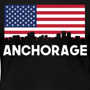 Anchorage AK American Flag Skyline - Women's Premium T-Shirt