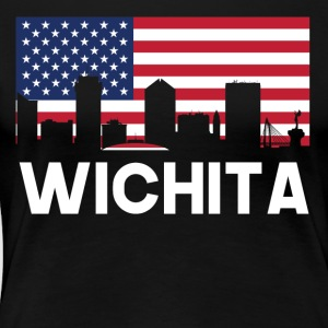 Wichita KS American Flag Skyline - Women's Premium T-Shirt