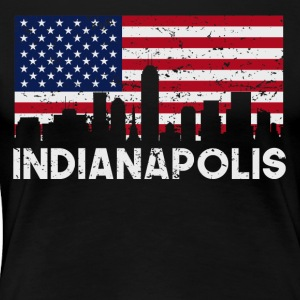 Indianapolis IN American Flag Skyline Distressed - Women's Premium T-Shirt
