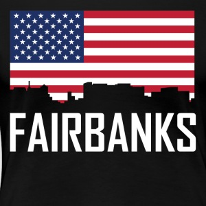 Fairbanks Alaska Skyline American Flag - Women's Premium T-Shirt