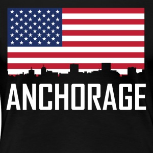 Anchorage Alaska Skyline American Flag - Women's Premium T-Shirt