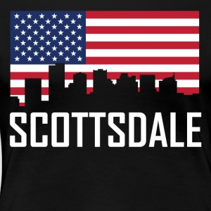 Scottsdale Arizona Skyline American Flag - Women's Premium T-Shirt