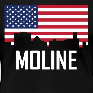 Moline Illinois Skyline American Flag - Women's Premium T-Shirt