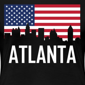 Atlanta Georgia Skyline American Flag - Women's Premium T-Shirt