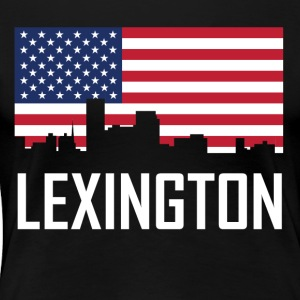 Lexington Kentucky Skyline American Flag - Women's Premium T-Shirt
