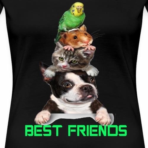 animal dog cat mouse bird best friends t shirt - Women's Premium T-Shirt