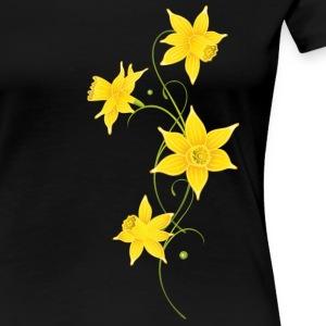 Filigree Daffodils Flowers. Spring, Easter. - Women's Premium T-Shirt