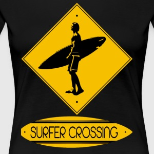 Surfer Crossing - Women's Premium T-Shirt