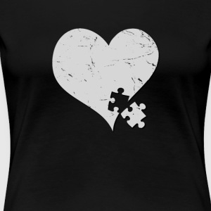 Autism Awareness Heart with Puzzle Piece - Women's Premium T-Shirt