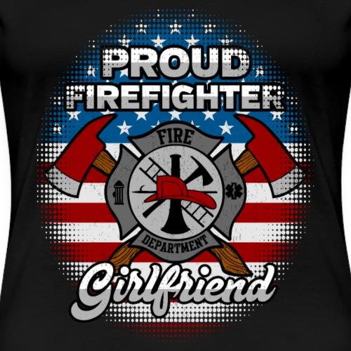 Proud Firefighter Girlfriend Badge And Axes - Women's Premium T-Shirt