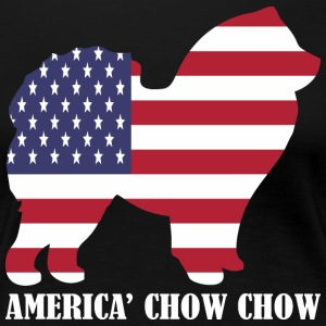 American Chow Chow Dog Flag Memorial Day USA - Women's Premium T-Shirt