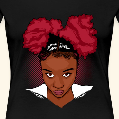 CurlyGirl Kinky Natural Hair Afro Puff T Shirt/Tee - Women's Premium T-Shirt