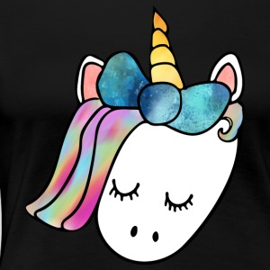 Unicorn Head with Watercolor Bow - Women's Premium T-Shirt