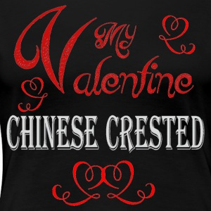 A romantic Valentine with my Chinese Crested - Women's Premium T-Shirt