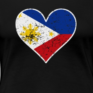 Distressed Filipino Flag Heart - Women's Premium T-Shirt