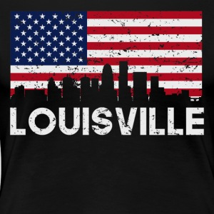 Louisville KY American Flag Skyline Distressed - Women's Premium T-Shirt