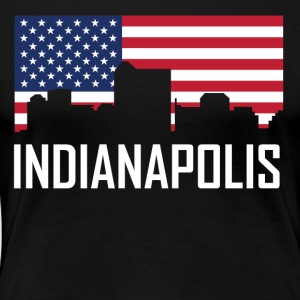 Indianapolis Indiana Skyline American Flag - Women's Premium T-Shirt