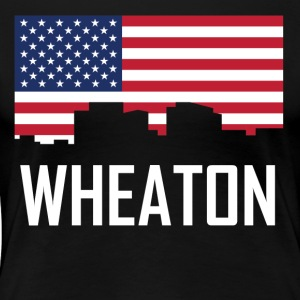Wheaton Maryland Skyline American Flag - Women's Premium T-Shirt