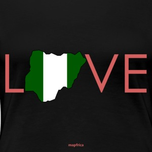 Love Nigeria Flag Map in Pink - Women's Premium T-Shirt