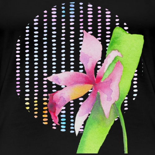 Watercolor Orchid With Dots - Women's Premium T-Shirt
