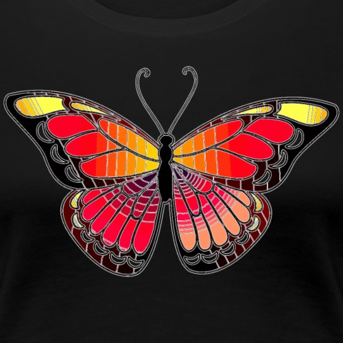 Monarch Butterfly Abstract Art - Stained Glass - Women's Premium T-Shirt