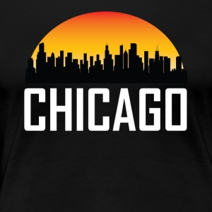 Sunset Skyline Silhouette of Chicago IL - Women's Premium T-Shirt