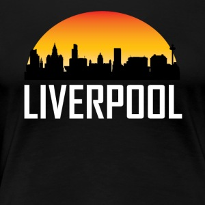Sunset Skyline Silhouette of Liverpool England - Women's Premium T-Shirt