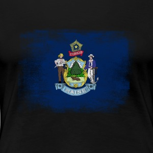 Maine State Flag Distressed Vintage - Women's Premium T-Shirt