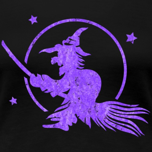 Halloween witch on a broom. Full moon time. - Women's Premium T-Shirt