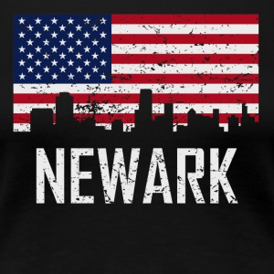 Newark New Jersey Skyline American Flag - Women's Premium T-Shirt