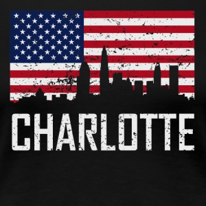 Charlotte North Carolina Skyline American Flag - Women's Premium T-Shirt