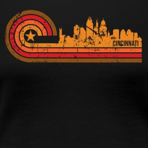 Retro Style Cincinnati Ohio Skyline Distressed - Women's Premium T-Shirt