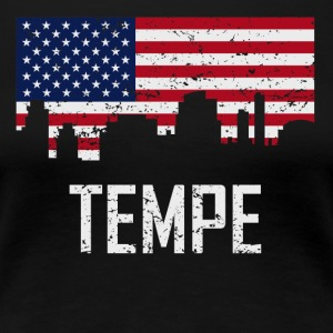 Tempe Arizona Skyline American Flag Distressed - Women's Premium T-Shirt