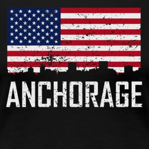 Anchorage Alaska Skyline American Flag Distressed - Women's Premium T-Shirt