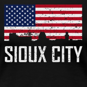 Sioux City Iowa Skyline American Flag Distressed - Women's Premium T-Shirt