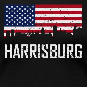 Harrisburg Pennsylvania Skyline American Flag - Women's Premium T-Shirt