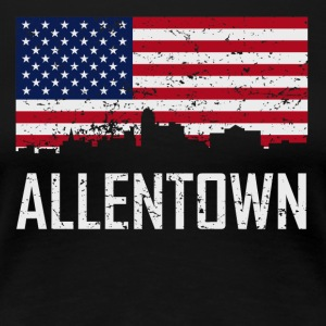 Allentown Pennsylvania Skyline American Flag - Women's Premium T-Shirt